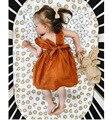 НОВЫЕ летние девочки твердые orange pattern партия принцессы платье детская одежда хлопок для торжеств и вечеринок топ Милый подарок на день рождения для 12 М-3 Т