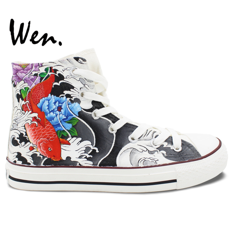 Wen Hand Painted Shoes Original Design Custom Chinoiserie Cyprinoid Fish High Top Men Women's Canvas Sneakers for Gifts boys girls converse all star hand painted shoes women men shoes pokemon go charizard design high top canvas sneakers