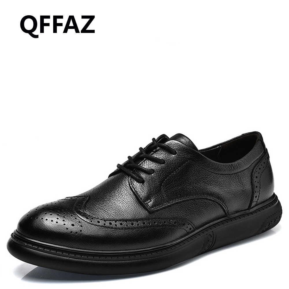 QFFAZ الرجال جلد طبيعي العمل Shoess جولة اصبع القدم أنيقة الذكور الأحذية اللباس الرسمي أكسفورد أحذية حجم كبير 38-46 انخفاض الشحن
