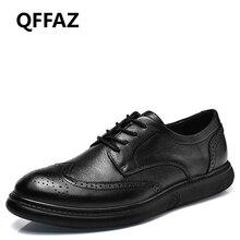 QFFAZ Men Genuine Leather Working Shoess Round Toe Elegant Male Footwear Dress Formal Oxford Shoes Big Size 38-46 Drop Shipping