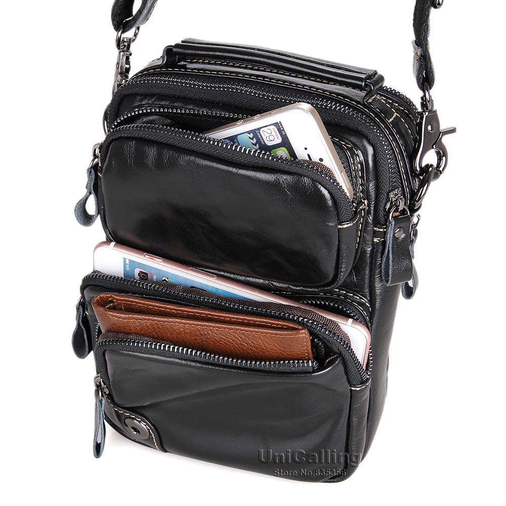 UniCalling messenger bag men leather quality cow leather hot sale male small messenger bag men 39 s shoulder bag black in Crossbody Bags from Luggage amp Bags