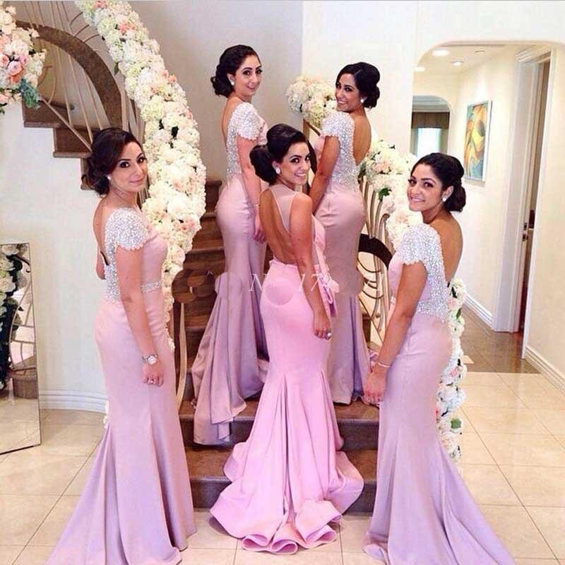 Scoop Backless Sexy Satin Mermaid Cap Sleeves Bridesmaid Dress Pink ...