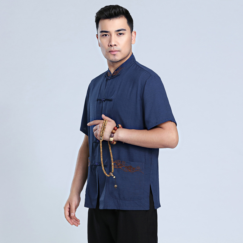 Купить с кэшбэком 2018 Chinese Traditional Summer T-shirt Men Kung Fu Party Tops Size M-3XL