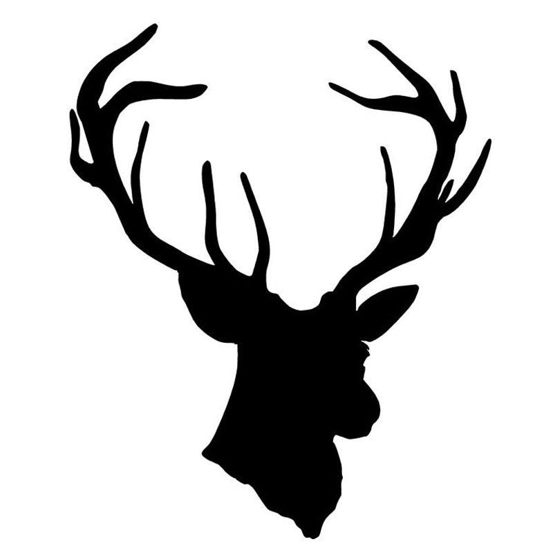 13.5*16.5CM Fashion Cool Deer Head Vinyl Car Styling Creative Hunting Car Sticker And Decals Black/Silver C9-1838