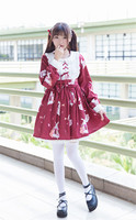 Kawaii Classic Lolita Dress 2018 New Japanese Girls Musical Rabbit Retro Dress Long Sleeves COS Loli Costumes Renaissance Dress