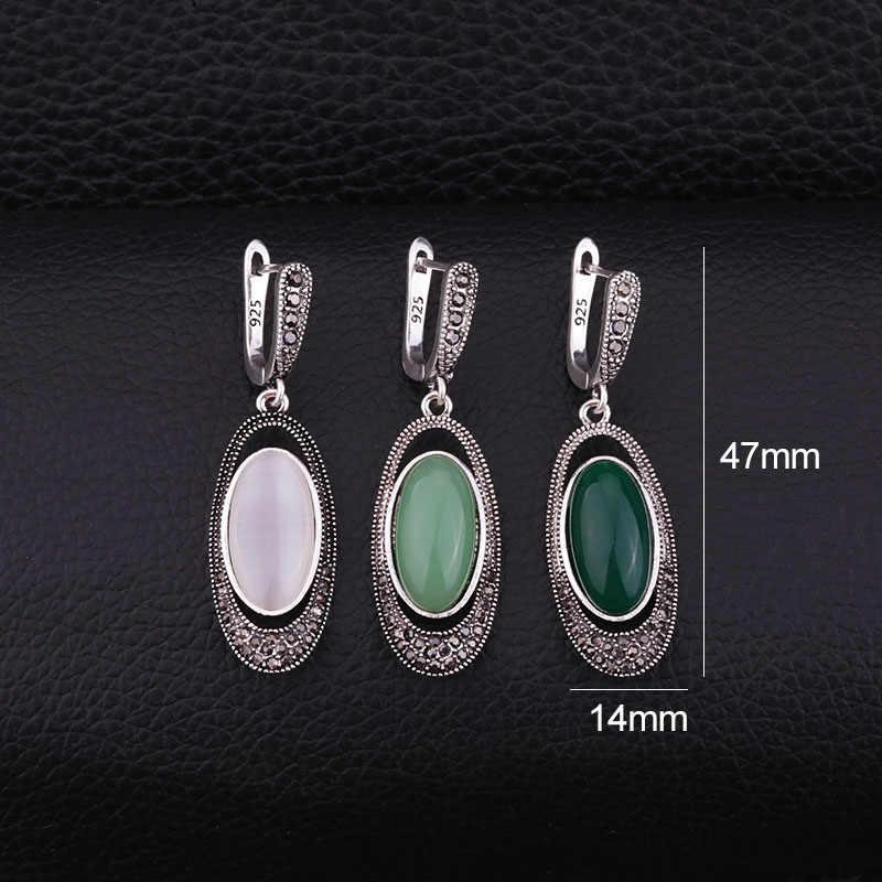 Sellsets VINTAGE สีเงินรูปไข่ยาวต่างหู Pave สีดำ Rhinestone และเรซิ่นโอปอล Dangle DROP เครื่องประดับต่างหูผู้หญิงของขวัญ