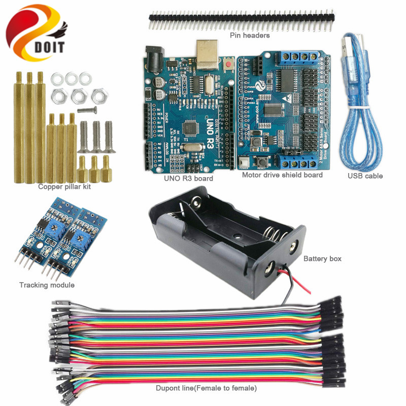 DOIT 1 set Tracking Kit with UNO R3 Board+Motor Drive Board+Tracking Module for Arduino Robot Tank Car Chassis by Phone DIY Kit sunfounder sf rollbot stem learning educational diy robot kit gui mixly for arduino beginner bluetooth module infrared sensor
