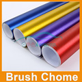 High Quality Satin Metallic btush Matte Chrome Red Vinyl Wrap Film Roll Bubble Free For Car Styling Size:1.52*0.5M/Roll
