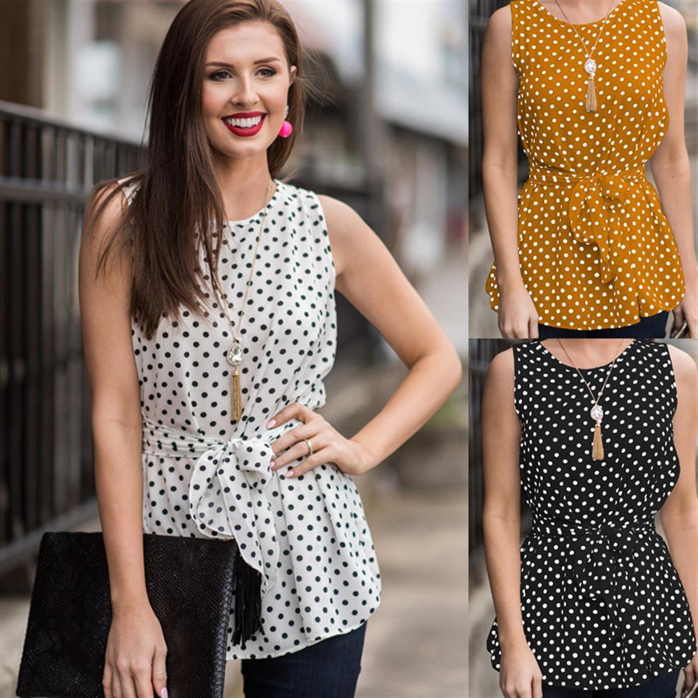 2018 Summer Women Casual Sleeveless Polka Dot T Shirt Top Plus Size Female Sexy Off Shoulder Tshirt Office Lady Slim Tshirt Tops