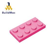 Buildmoc compatível monta partículas 3020 2x4 para blocos de construção peças diy logotipo educacional tecnologia peças brinquedos