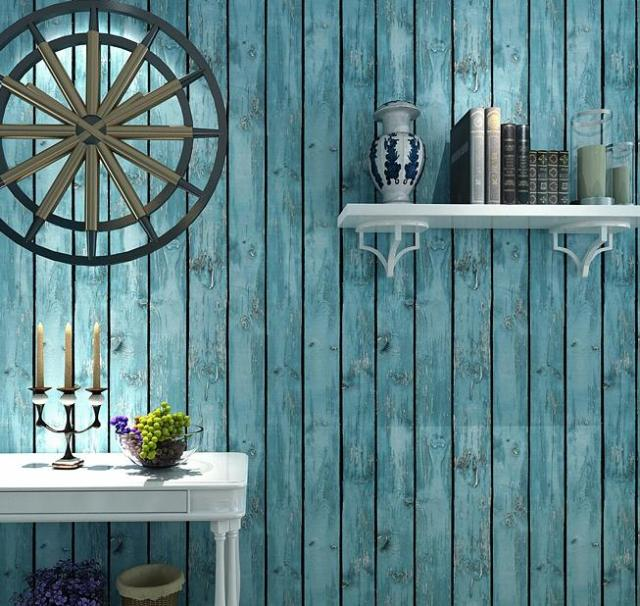 Vintage Blue Weathered Vintage Wood Look Grain Slab Pvc Wallpaper