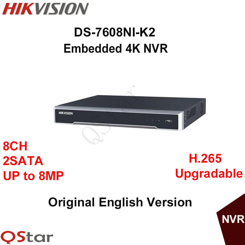 Hikvision Original English Version DS-7608NI-K2 Embedded 4K NVR 2HDD Support H.265 2SATA 8MP 8CH Network DHL Free Shipping