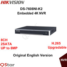 Hikvision Оригинальная Английская Версия DS-7608NI-K2 Embedded 4 К 8-МЕГАПИКСЕЛЬНОЙ NVR 2HDD Поддержка H.265 2 SATA 8-КАНАЛЬНЫЙ Сети DHL Бесплатная Доставка