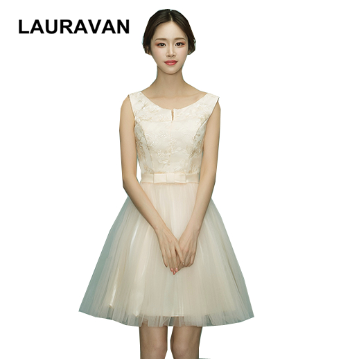 New Arrrival Short Champagne Girls Sleeveless Knee Length Modern Bridesmaid Pretty Maids Dresses Party Dress 8 Ball Gown
