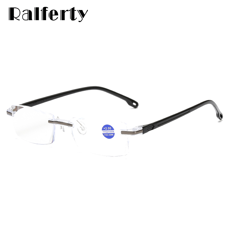 82f32c6dbb Ralferty Reading Glasses Men Women Anti Blue Diopter Prescription Glasses  For Sight Square Rimless +1.0