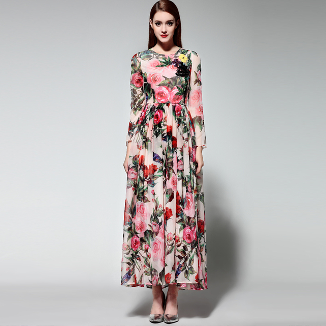 b84262e8fc5 Top Quality 2016 Spring Summer Runway Maxi Dress Women s Long Sleeve Floral  Print Beading Long Chiffon Dress With Scarf