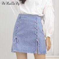 DeRuiLaDy Women Autumn Denim Pencil Skirt 2017 Cross High Waist Skirt Zipper Lace Split Bodycon Short