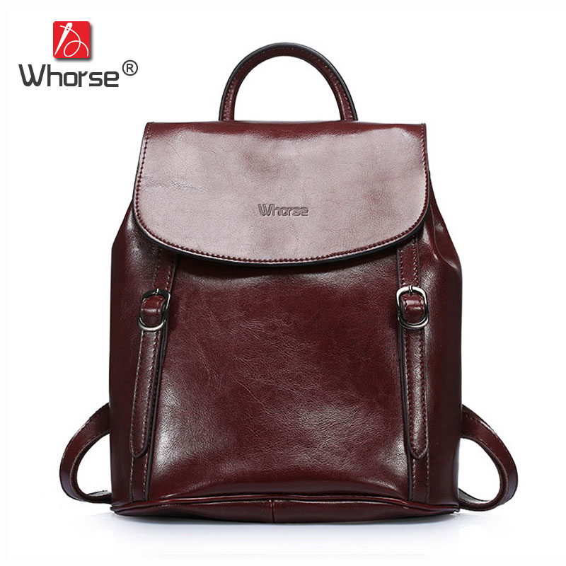[WHORSE] Brand Vintage Casual Genuine Leather Backpack Women Backpacks Canvas Retro Belt Large Capacity Black Coffee W07070