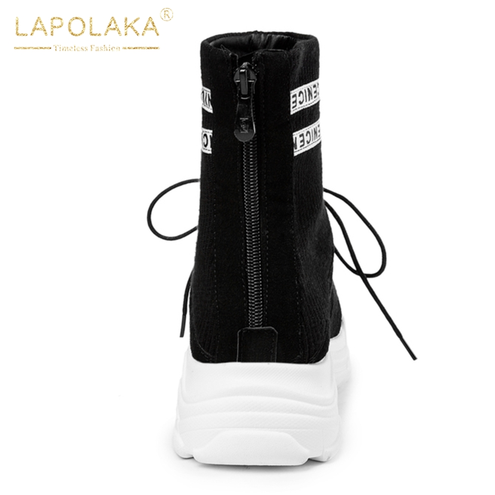 black Heißer Neue Lace With Plattform Größe black Frau Herbst 48 29 Stiefel Lapolaka Fur White Plus Frühling white Marke Verkauf Frauen Stiefeletten Schuhe Up Fur 6q01x5g