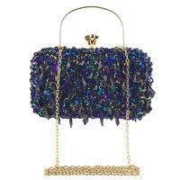 Sparkling Sequins Women Evening Bags Tassel Clutch Diamonds Beaded Metal Evening Bag Chain Shoulder Party Ladies Handbags B168