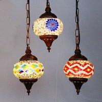 Bohemia Colorful Glass Corridor Pendant Light Country Rustic Mosaic Balcony Hallway Hanging Lamp Turkey Pendant Lighting Fixture