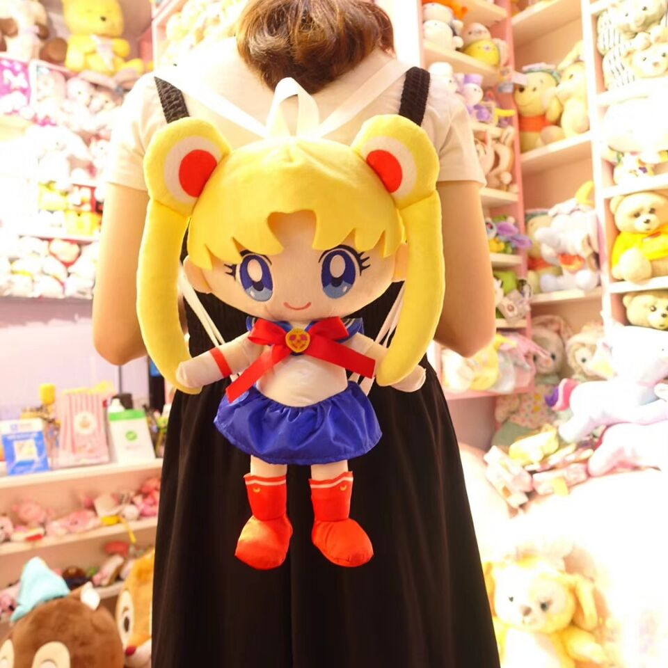 Hot Sell Sailor Moon Figure Cosplay Toys Sailor Moon Figures Plush Shoulders Backpack Children School Bag Plush pillow backpack sailor moon sailor neptune long green curly cosplay party hair wig