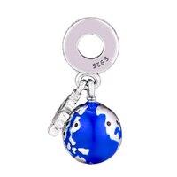 2018 Winter 925 Sterling Silver & Blue Enamel Mouse Globe Charm Fits Pandora Bracelets Charms Silver 925 Original Beads Jewelry.
