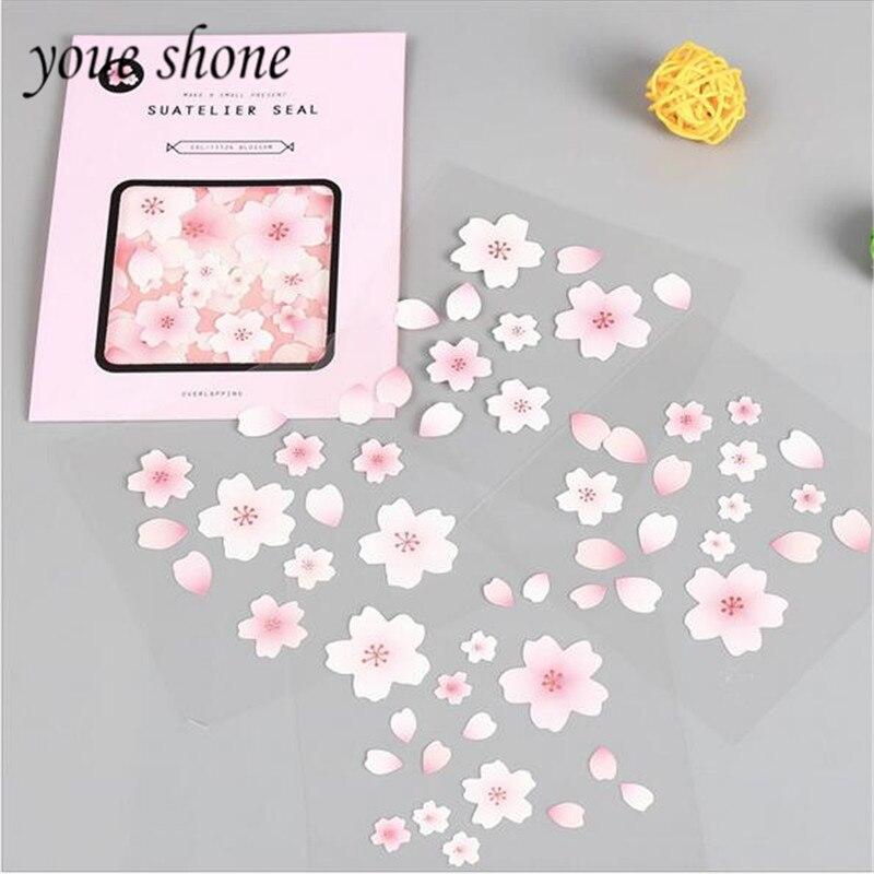 Youe Shone 4pcs/pack Cherry Blossom Account Sticker Japan Creative Diary DIY Sticker Album Sticker For School Student