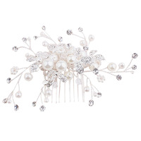 1PC Chic Bride Girl Silver Color Leaf Faux Pearls Rhinestone Hair Comb Wedding Party Headdress