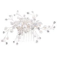 1PC Chic Bride Girl Silver Color Leaf Faux Pearls Rhinestone Hair Comb Wedding Party Headdress