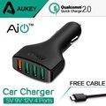 QC2.0 AUKEY 4 Puertos USB Mini coche Rápido Cargador de coche Rápido adaptador de cargador para teléfono ipad samsung htc lg sony tablet con Cable