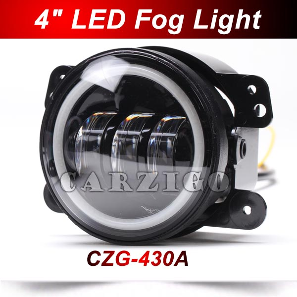 CZG-430A 2PCS/Pair 4 inch round 30w led fog lamp/light led headlamp with Angel Eye halo ring DRL for <font><b>Jeep</b></font> wrangler 4x4 Offroad
