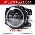 """CZG-430A 4 """"rodada levou nevoeiro lâmpadas led faróis com Angel Eyes de halo anel DRL para faróis de neblina led para offroad Jeep wrangler caminhões"""