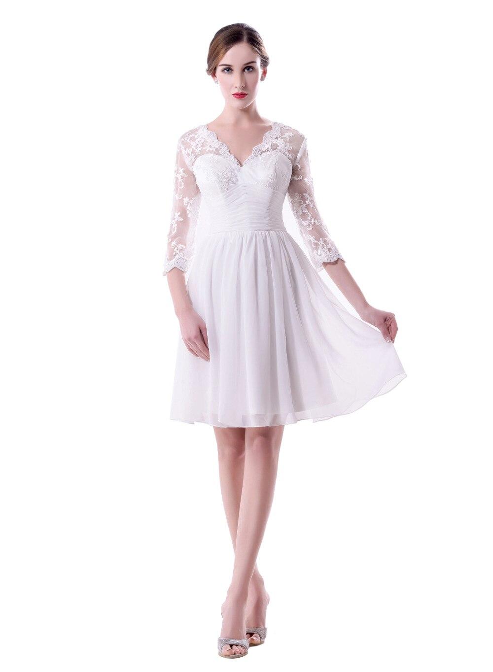 Neue Vestido de Noiva Short Chiffon Brautkleid v ausschnitt A linie ...