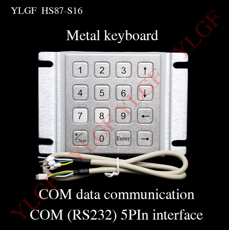Metal keyboard  Up, down, left, right YLGF HS87-S16-C5   COM (RS232) 5-pin terminal  waterproof (IP65), dust, anti violence metal keyboard ylgf ps 2 super mini embedded industrial key waterproof ip65 dust anti violence stainless steel ring