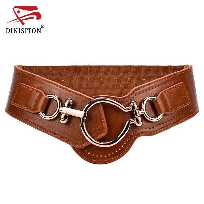 DINISITON Designer Cummerbund For Women High Quality Cummerbunds Ladies Wide Strap Big Buckle Elastic Band Fashion Belts CMYF03