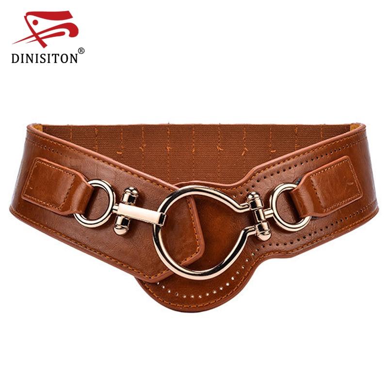 DINISITON Designer Cummerbund For Women High Quality Cummerbunds Ladies Wide Strap Big Buckle Elastic Band Fashion Belts CMYF03