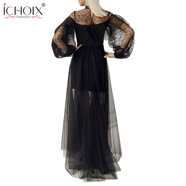 2018 Sexy Mesh Long Dress Women Spring Ruffle Black Bodycon Lace Maxi Dress See Through Elegant Evening Party Floor Length Dress