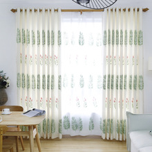 Korean Embroidered Curtains For Bedroom Living Room Pastoral Scandinavian Style Solid CurtainsChina