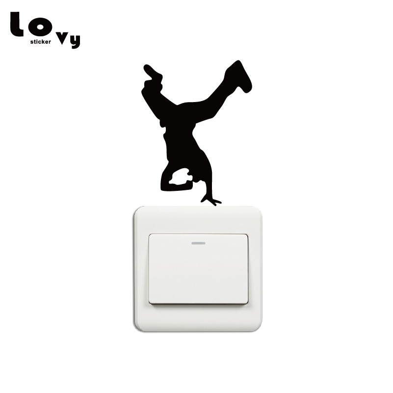 Breakdance Hip Hop Rave Music Dance Switch Sticker Creative Dancer  Silhouette Vinyl Wall Sticker Home Decor SW0097
