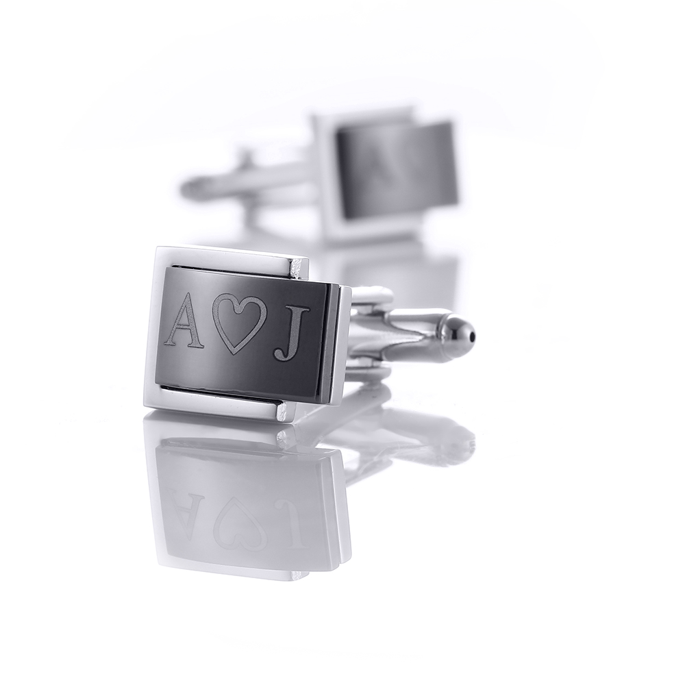 Personalized Black Cufflinks Cuff link For Mens Shirt Cufflink Men Engraving Anniversary Unique Gifts Lettering Nam Cuffs QiQiWu in Tie Clips Cufflinks from Jewelry Accessories