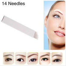 50 PCS 14-Pin Permanent Makeup Manual Eyebrow Tattoo Needles Blade For 3D Embroidery Microblading Tattoo Pen Machine
