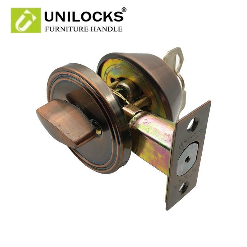 UNILOCKS 101AC Deadbolt Door Lock Iron Tubular Lever Single Cylinder/Deadbolt Invisible Locks shopping from USA unilocks european indoor door locks kitchen balcony toilet door lock invisible recessed locks