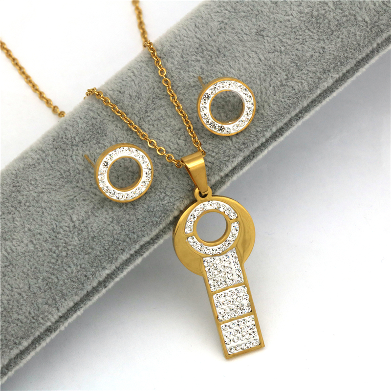 Earrings Necklace Jewelry-Sets Zircon Stainless-Steel Fashion Women Gold-Color And Key