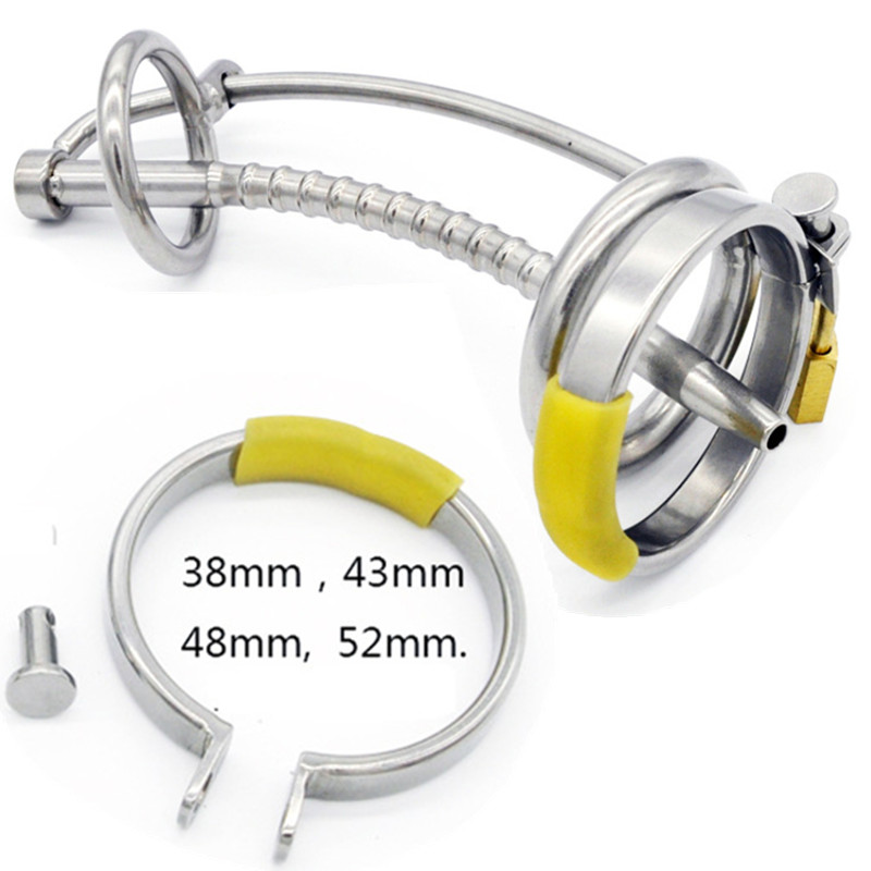 2017 New Metal Male Chastity Devices Cock Cages with Catheter Lock Penis Ring Chastity Cage Penis Plug Sex Toys for Men G105