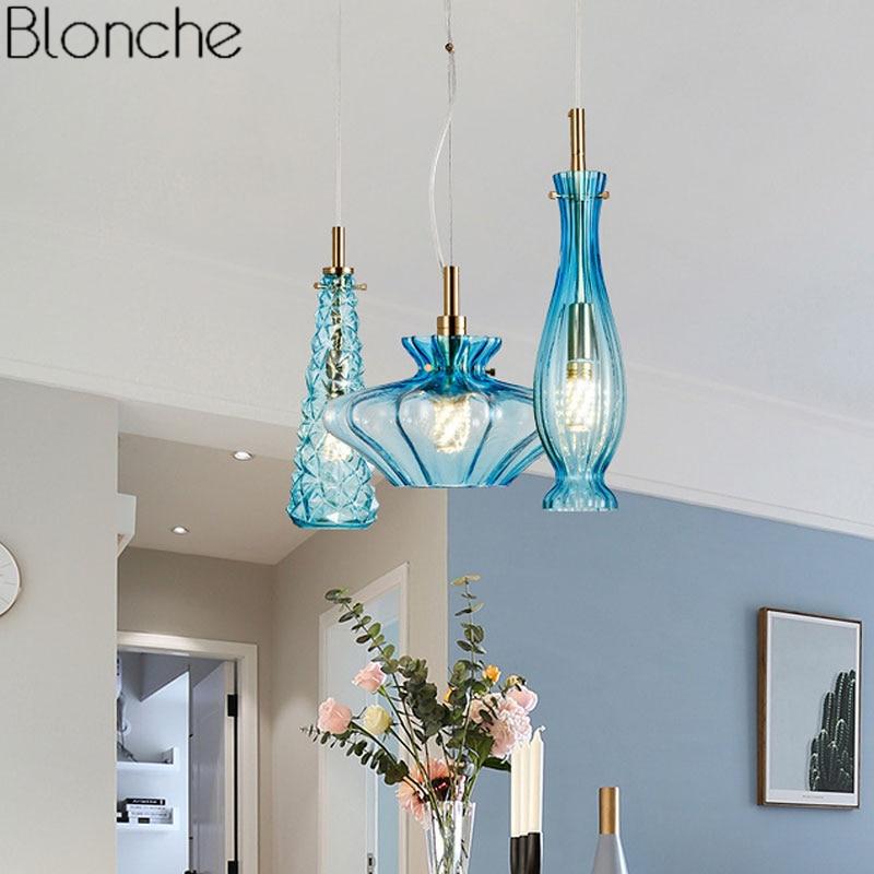 Living Room Lighting Fixtures: Nordic Glass Led Pendant Lights Modern Hanging Lamp For