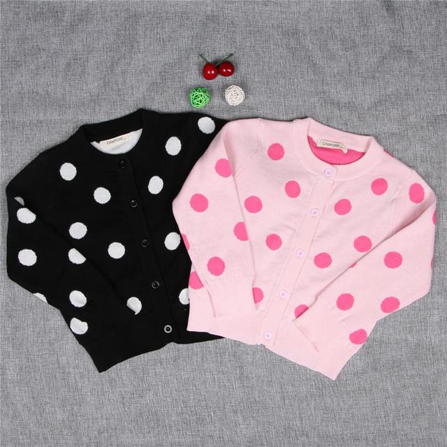 2016 del otoño del resorte niños cardigan de punto suéter de los cabritos de punto de algodón de manga larga ropa de bebé capa de las muchachas outwear o-cuello