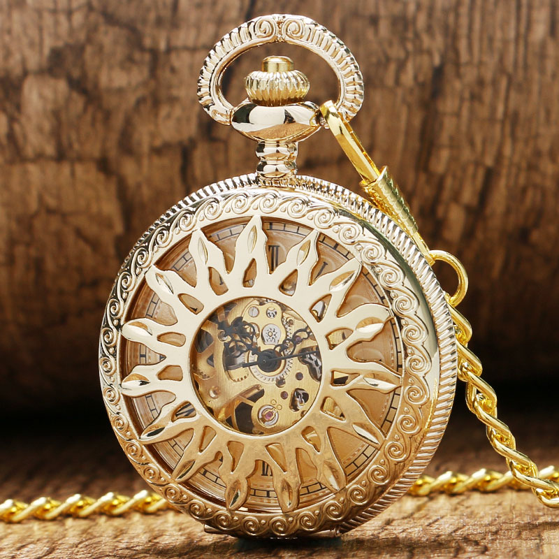 Luxury New Golden Hollow Flower Sun Case Design With Roman Number Dial Skeleton Mechanical Pendant Pocket Watch For Men Women
