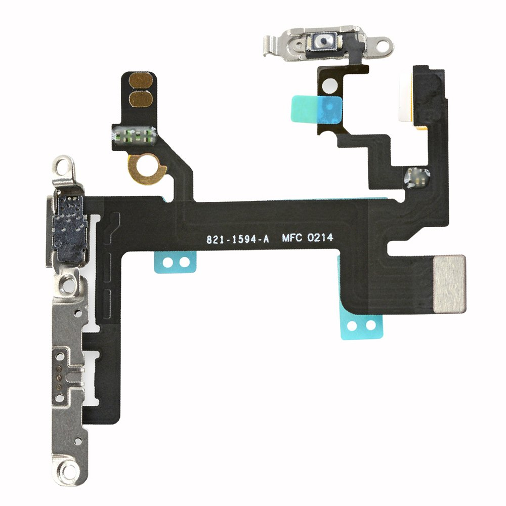For IPhone 5s Power On/Off Volume Buttons Silent Switch Button Microphone LED Flash  Flex Cable With Brackets  Replacement