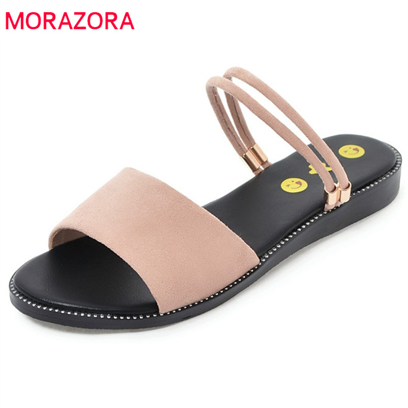 MORAZORA 2018 new arrive hot sale women sandals flock shallow fashion shoes simple solid slippers big size 34-43 summer shoes anmairon shallow leisure striped sandals women flats shoes new big size34 43 pu free shipping fashion hot sale platform sandals